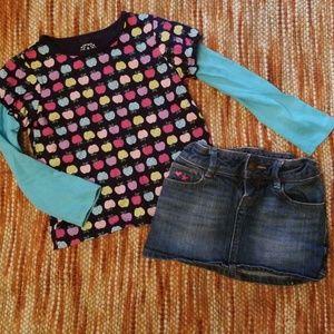 Girls 6 gap skirt carters shirt bundle outfit